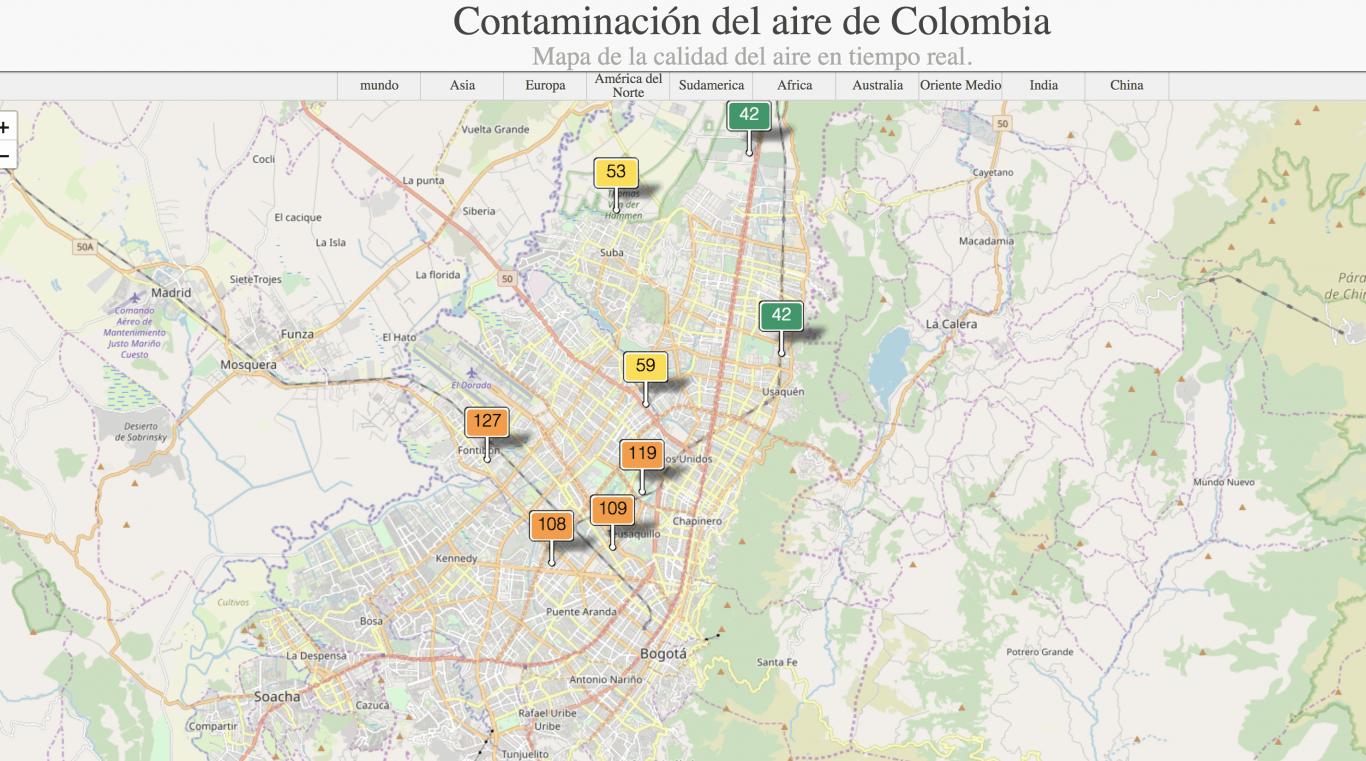 mapa de la calidad del aire en tiempo real
