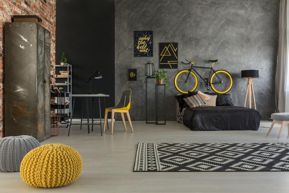decoración de habitación con bicicleta