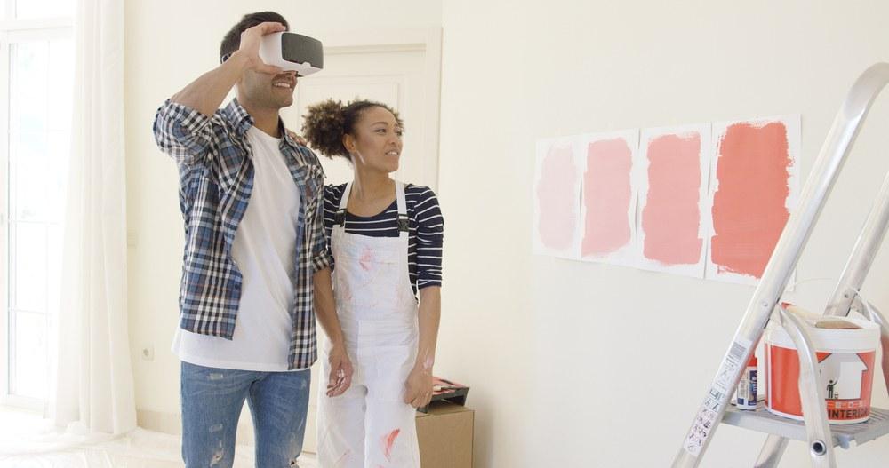 pareja realidad virtual pintura