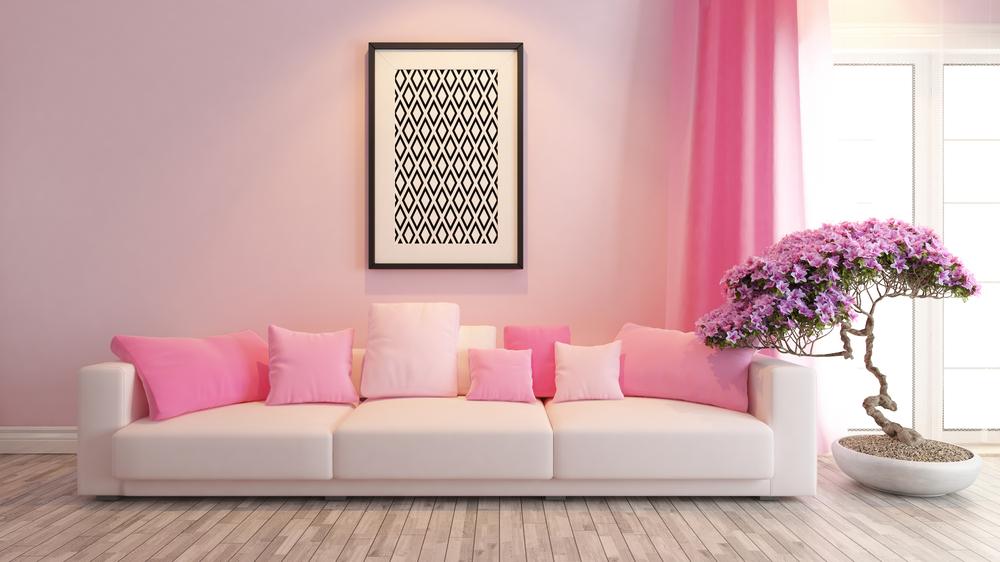 Decoración en tonos rosas