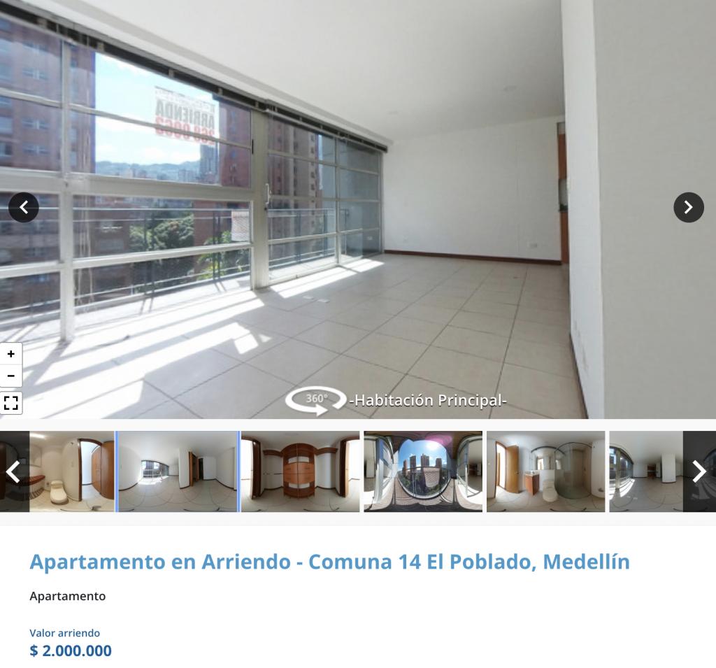 Apartaestudio en arriendo en El Poblado, Medellín para arrendar con 2 millones de pesos