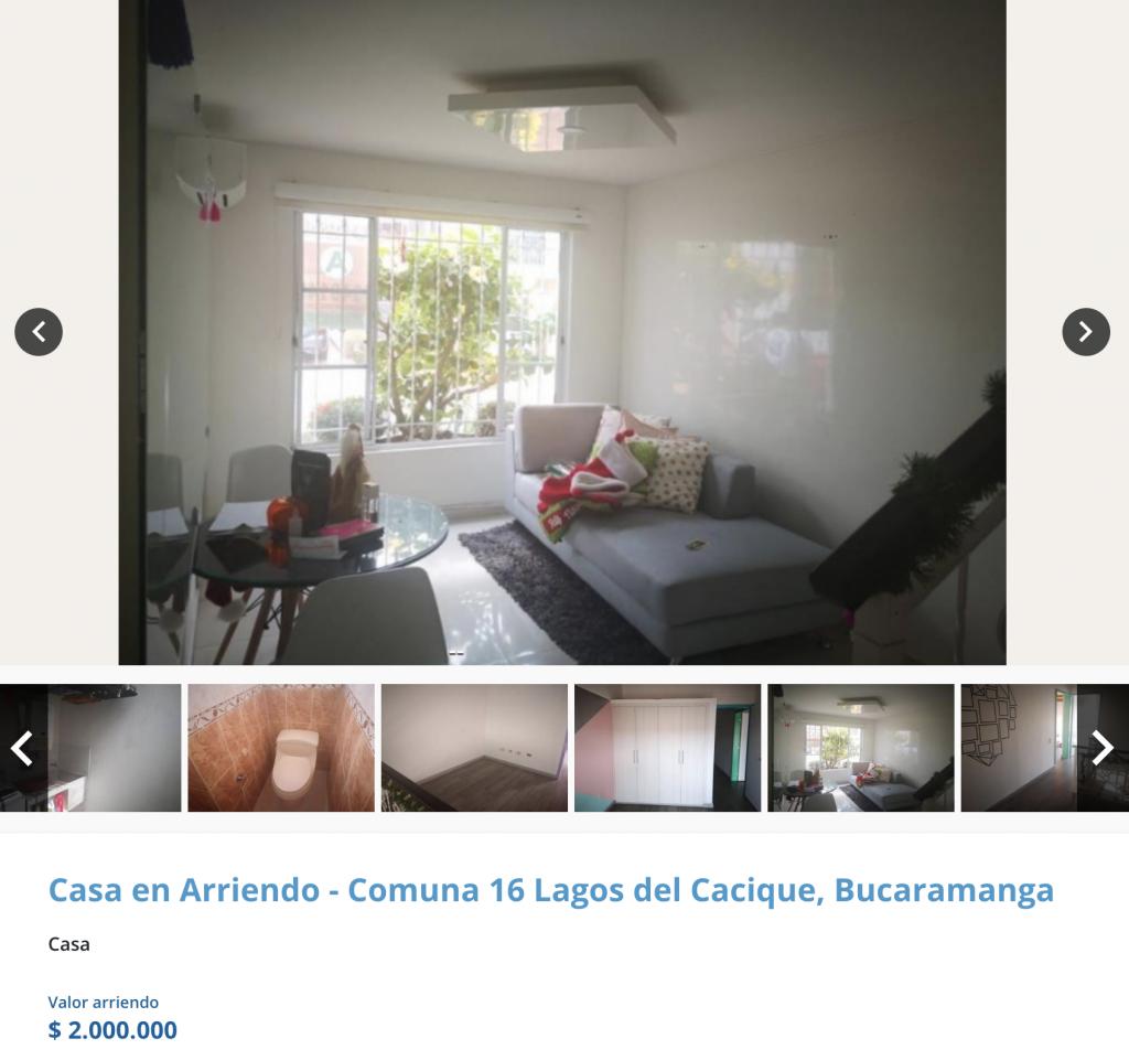 Casa en arriendo en El Tejar, Bucaramanga para arrendar con 2 millones de pesos