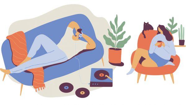 pareja escuchando canciones