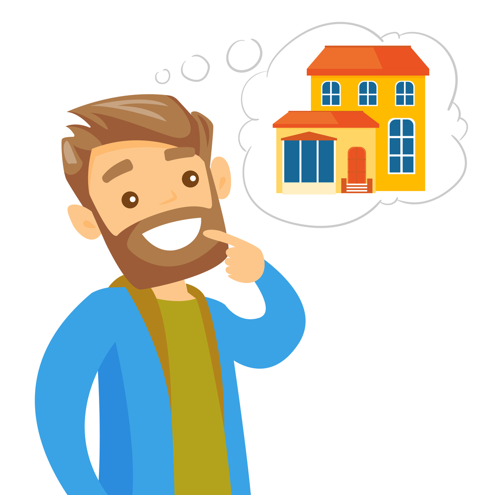 hombre pensando en comprar casa
