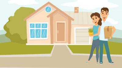 Ilustración familia en casa nueva- subsidio de vivienda