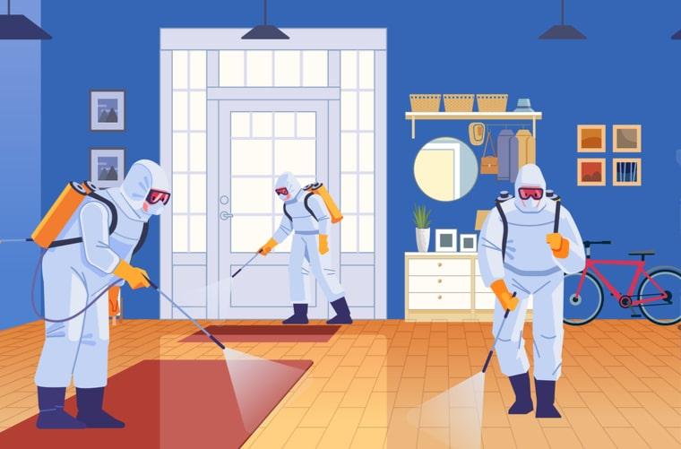 Ilustración desinfección de espacios