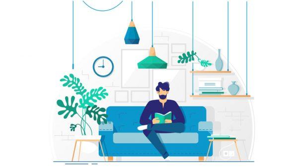 Ilustración persona leyendo libros para agentes inmobiliarios