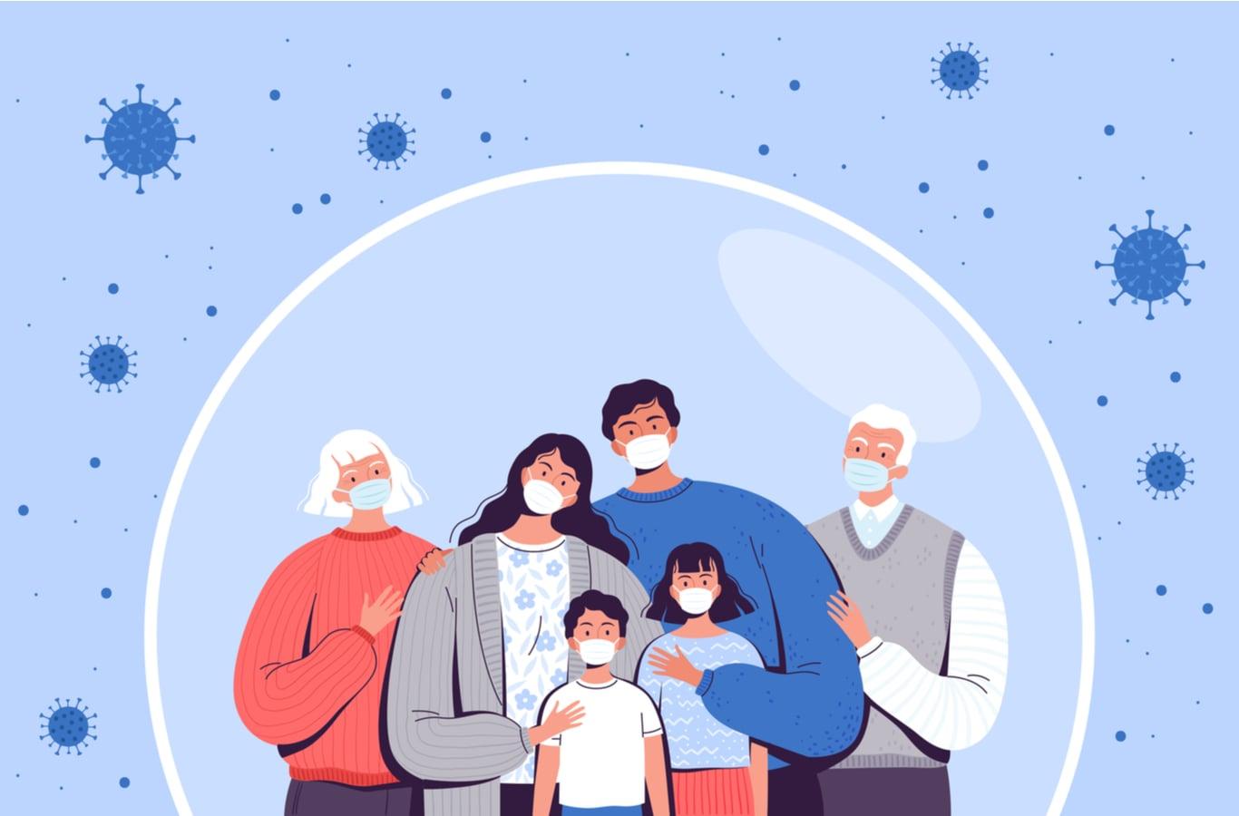 Ilustración familia en casa