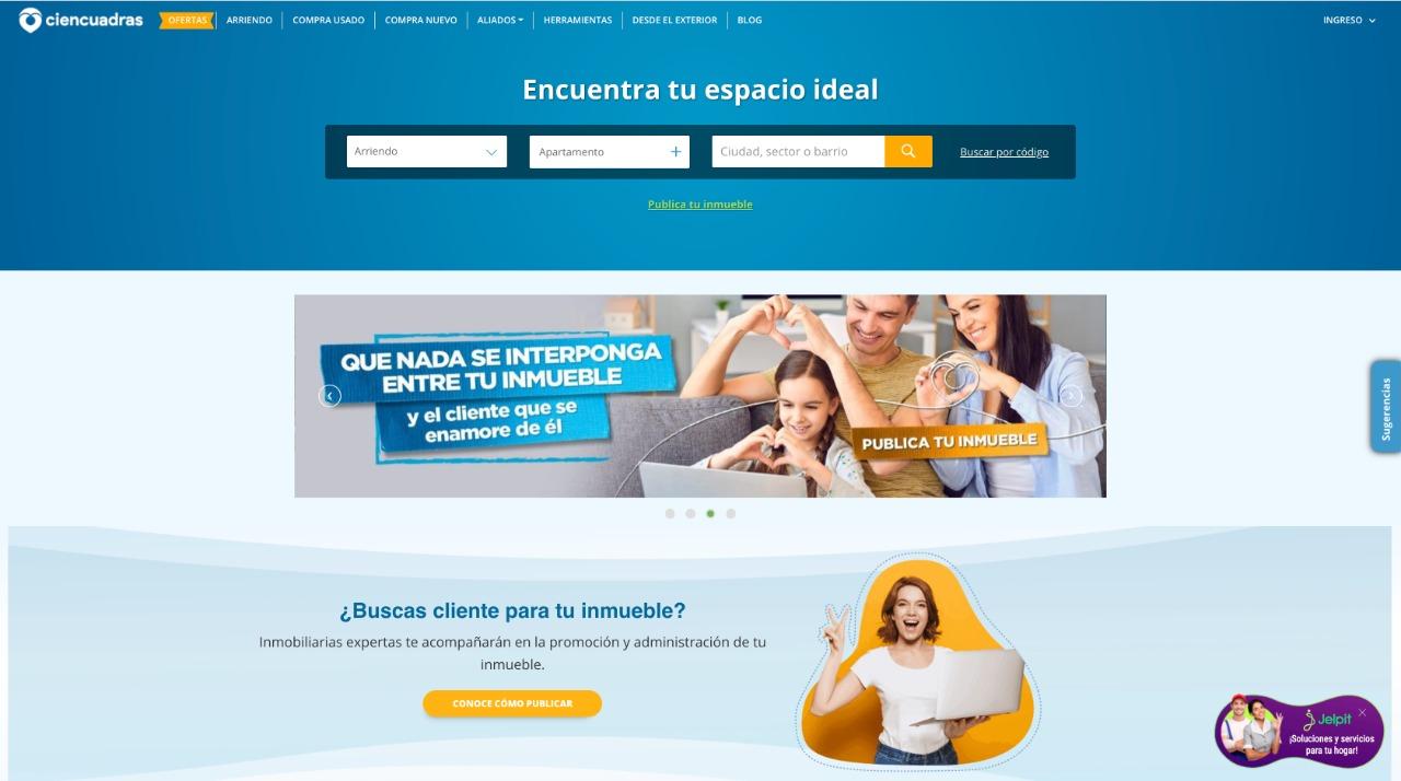 Pantallazo del portal inmobiliario Ciencuadras, página para arrendar y vender inmuebles en Colombia .